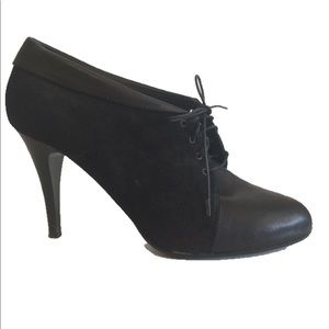J.Crew Noelle black suede+leather booties, sz 9.5